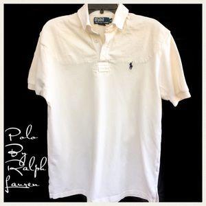 Ralph Lauren Men's Cream Cotton Mesh Polo Shirt M